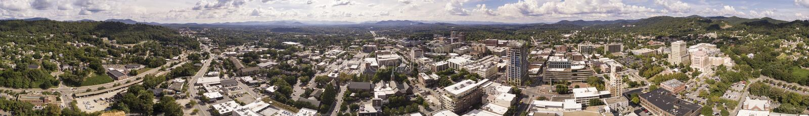 Seamless aerial 360 degree panorama of downtown Asheville, North. Carolina royalty free stock photo