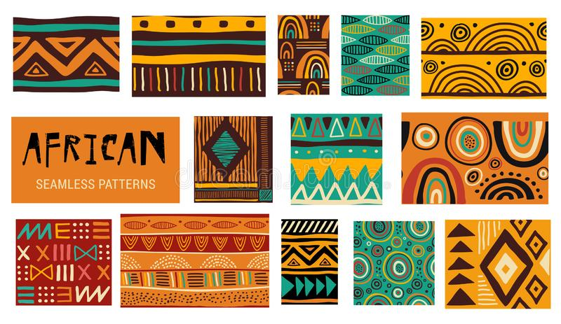 Seamless African modern art patterns. Vector collection royalty free illustration