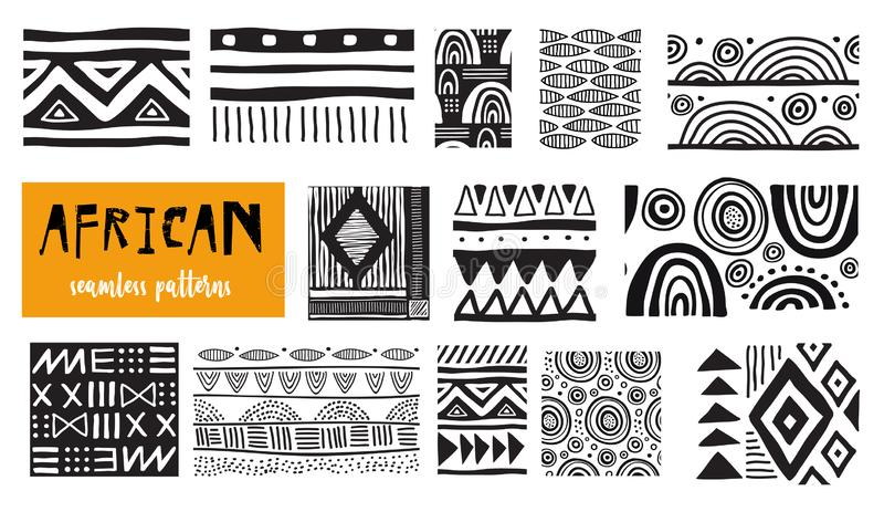 Seamless African modern art patterns. Vector collection stock illustration