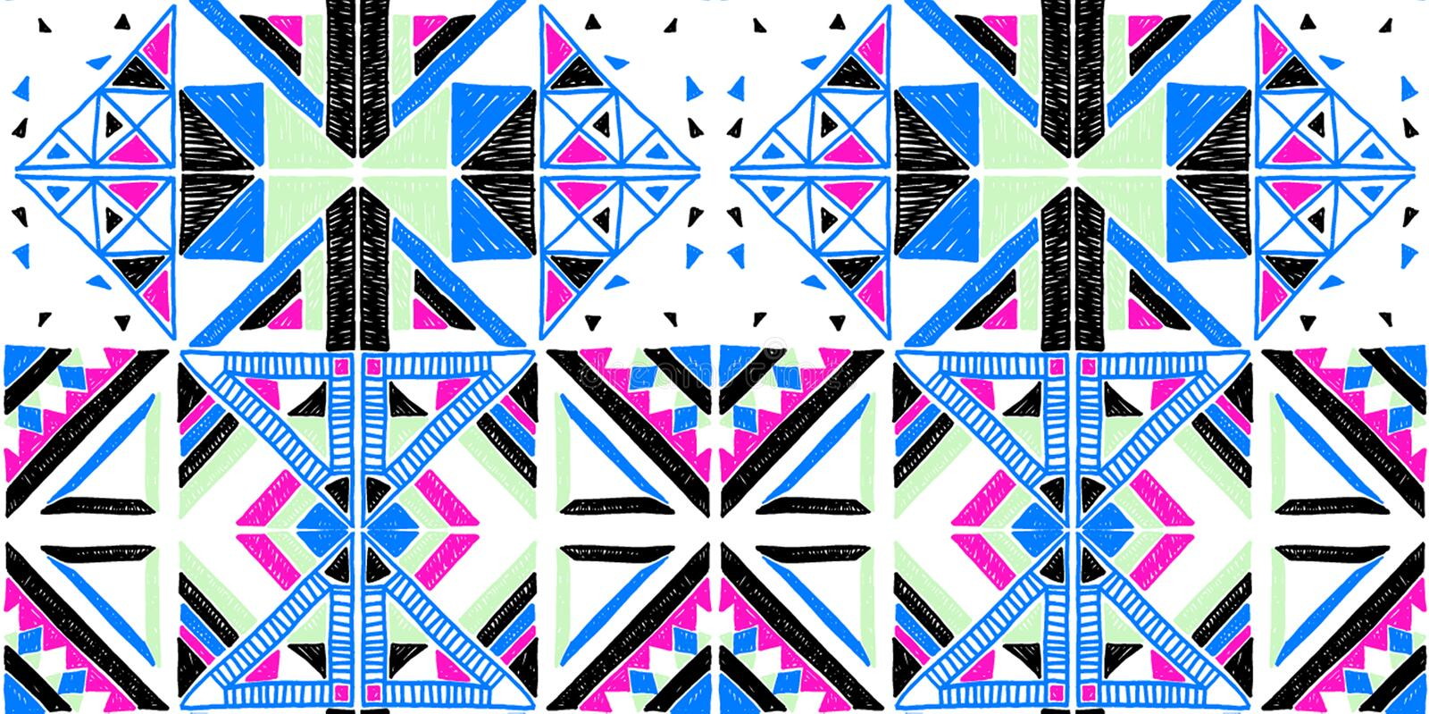 Seamless African pattern. Ethnic ornament on the carpet. Aztec style. Figure tribal embroidery. Indian, Mexican, folk pattern. vector illustration