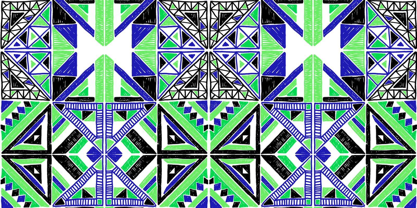 Seamless African pattern. Ethnic ornament on the carpet. Aztec style. Figure tribal embroidery. Indian, Mexican, folk pattern. royalty free illustration