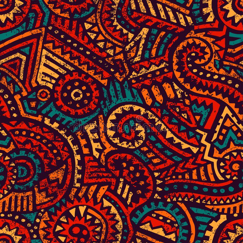 Seamless african pattern. Ethnic and tribal motifs. Orange, red, yellow, blue and black colors. Grunge texture. Vintage print for vector illustration