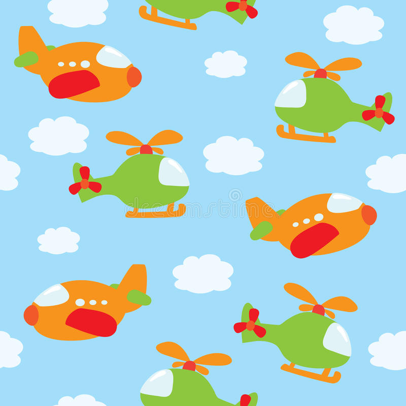 Seamless airplane pattern vector illustration