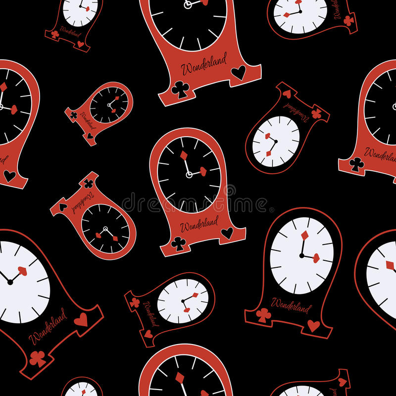 Seamless Alice Clocks from Wonderland. Alice Clocks from Wonderland World. Seamless Vector Texture Can Be Used for Wallpapers, Pattern Fills, Web Page stock illustration