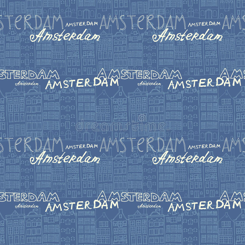 Seamless amsterdam holland background. Seamless sketchy amsterdam holland background. Row of old houses vector illustration