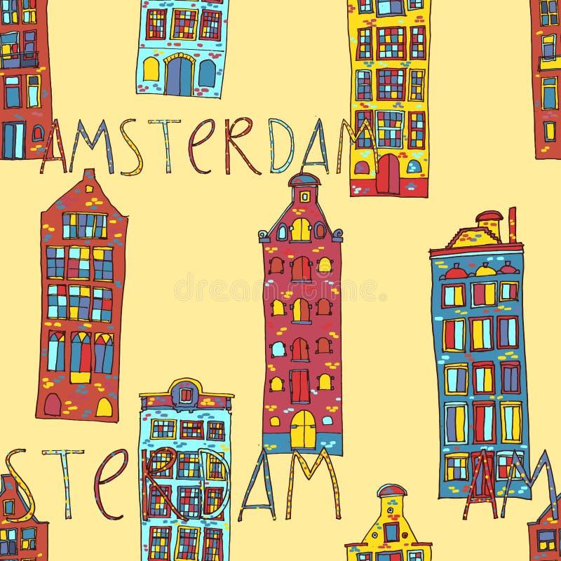Seamless amsterdam holland background. Seamless sketchy amsterdam holland background. Vector illustration vector illustration