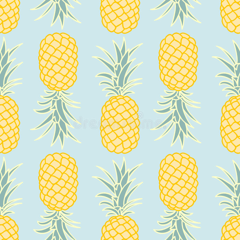 Seamless ananas mönstrar stock illustrationer
