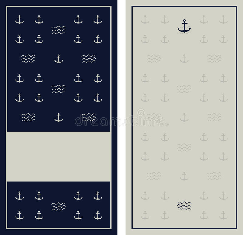 Seamless anchor navy blue pattern with grunge texture. Yacht style design. Template for prints, wrapping paper, fabrics, covers, flyers, banners, posters and vector illustration