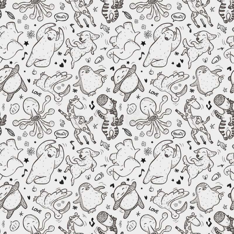 Download Seamless Animal Dancing Pattern Stock Illustration - Image: 33033339
