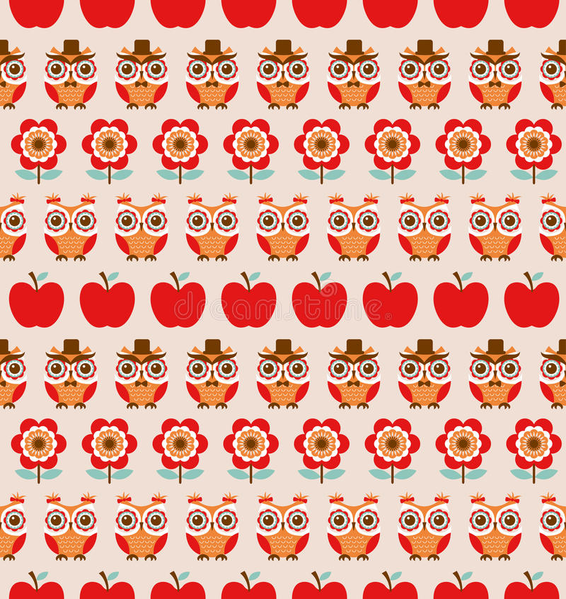 Seamless animal owls pattern royalty free illustration