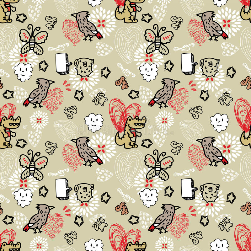 Seamless animal pattern royalty free illustration