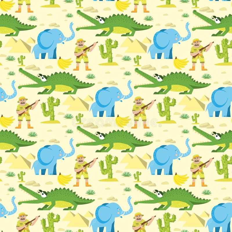 Seamless animal pattern wildlife reptile background with circus elephant crocodile characters vector illustration stock illustration