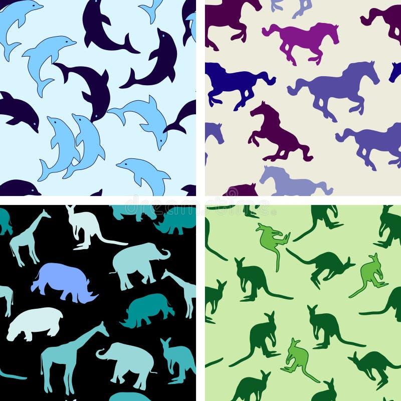 Seamless animal patterns royalty free illustration