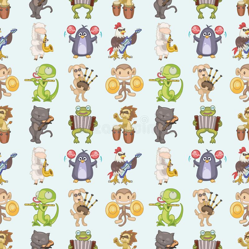 Seamless animal play music pattern stock illustration