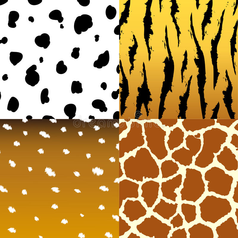 Seamless animal skin texture fabric set royalty free illustration