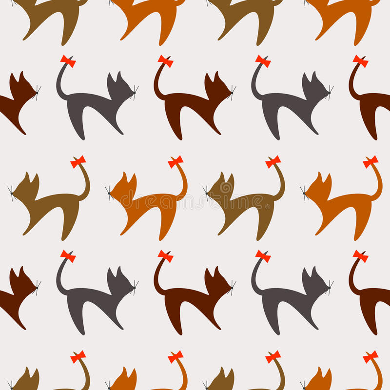 Seamless animal vector pattern, background with cats stock illustration