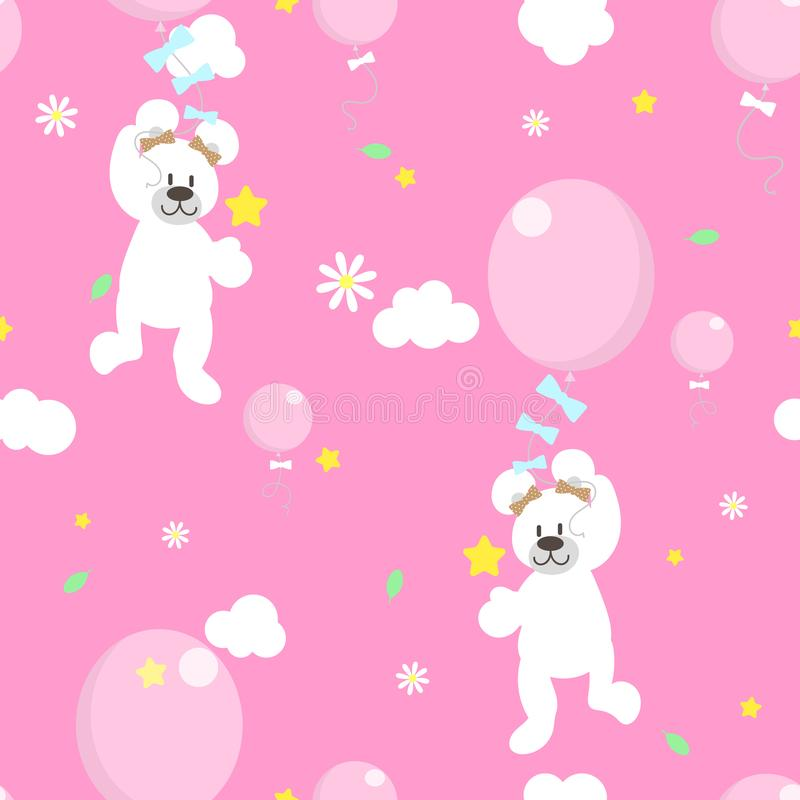 Seamless animal wildlife cute white teddy bear holding balloon,flower and star in the sky repeat pattern in pink background stock illustration