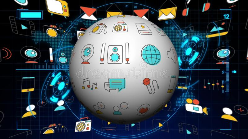 Seamless animation of global flat multimedia social media and seamless animation of global flat multimedia social media and digital marketing icon in world map background stock footage video of idea gumiabroncs Image collections