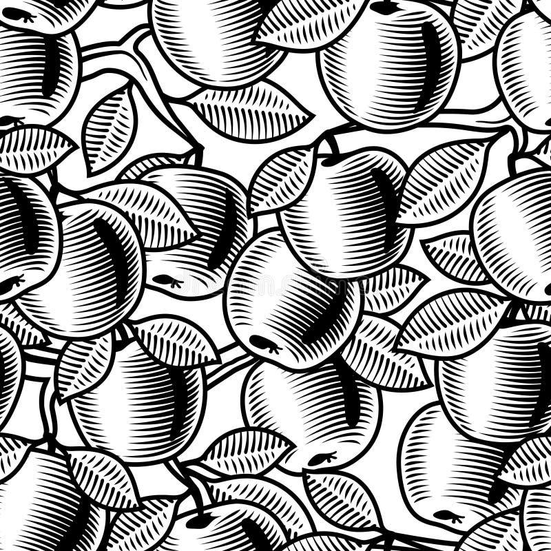 Seamless apple background black and white stock illustration