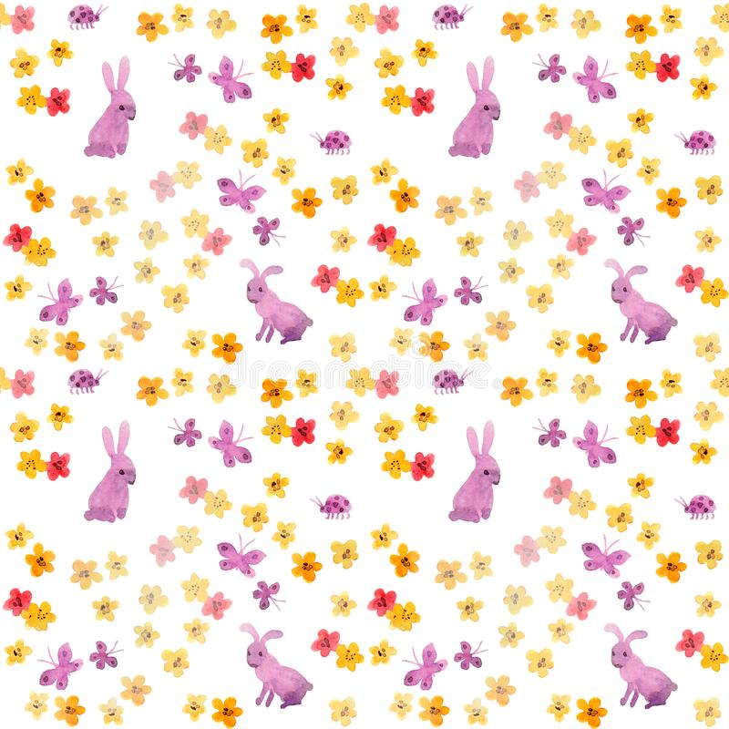 Seamless aquarelle pattern with cute hand painted rabbits, primitive flowers and naive butterflies. Childish watercolour. On white background stock images