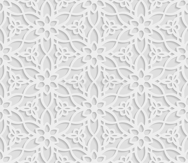 Seamless arabic geometric pattern, 3D white background, indian ornament, persian motif, vector texture. Endless texture are suita. Ble for web page background vector illustration