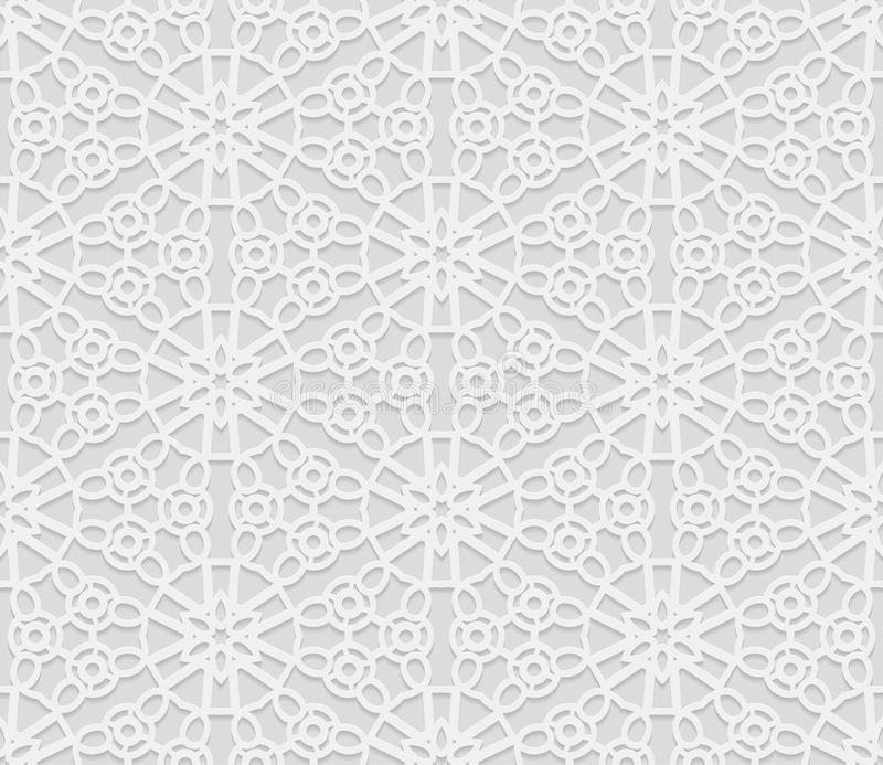 Seamless arabic geometric pattern, 3D white pattern, indian ornament, persian motif, vector. Endless texture can be used for wal. Lpaper, pattern fills, web page royalty free illustration