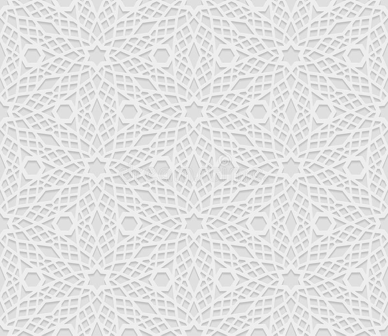 Seamless arabic geometric pattern, 3D white pattern, indian ornament, persian motif, vector. Endless texture can be used for wal. Lpaper, pattern fills, web page vector illustration