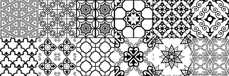 seamless arabisk modell Geometrisk islamisk prydnad, ramadan modell och arabisk prydnadvektoruppsättning royaltyfri illustrationer