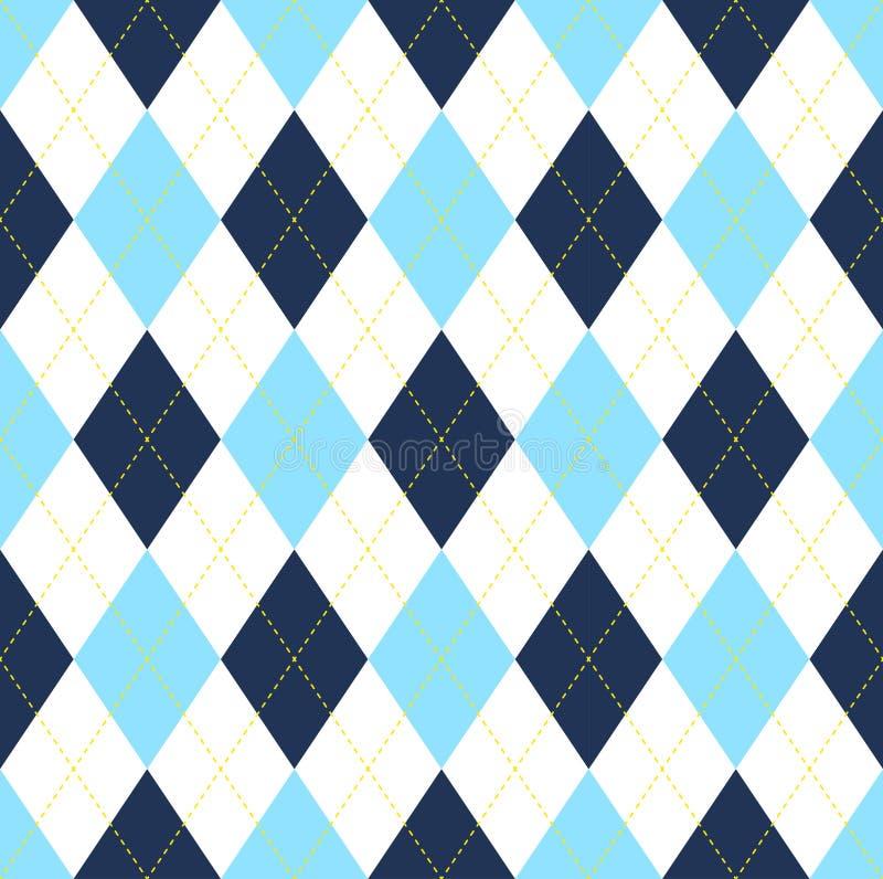 Seamless argyle pattern in dark blue, light blue & white with yellow stitch. stock image