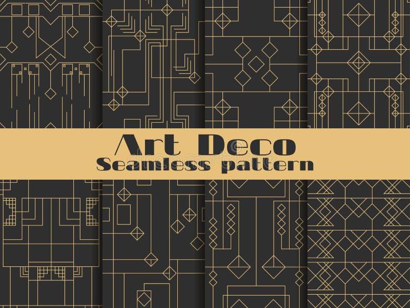 seamless art décomodell Fastställda retro bakgrunder, guld och svart färg Utforma ` 1920 s, ` 1930 s Linjer och geometriska forme stock illustrationer