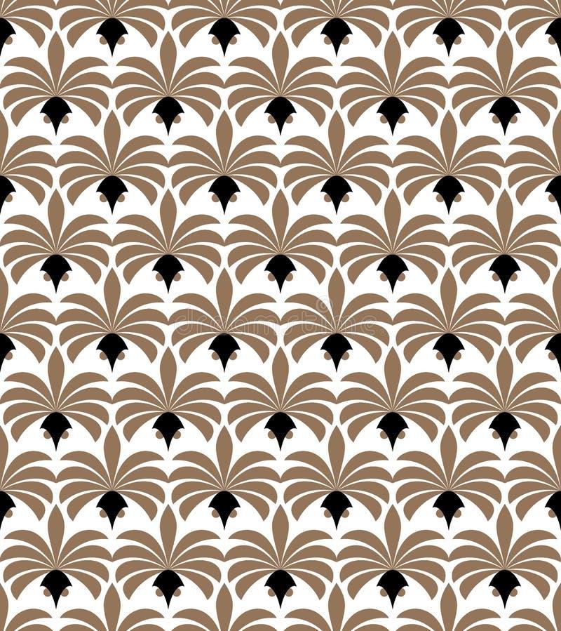 seamless art décomodell Geometrisk blom- dekorativ textur Vektorn lämnar stilfull bakgrund royaltyfri illustrationer