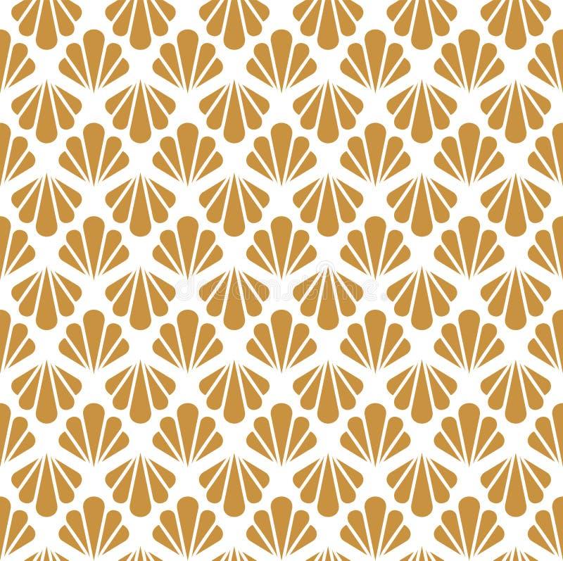seamless art décomodell Geometrisk blom- dekorativ textur Vektorn lämnar stilfull bakgrund Abstrakt havsskalillustration royaltyfri illustrationer