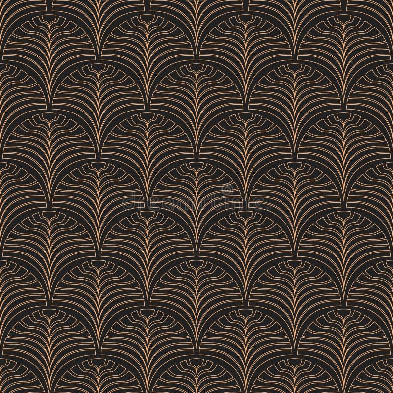 seamless art décomodell svart guld vektor illustrationer