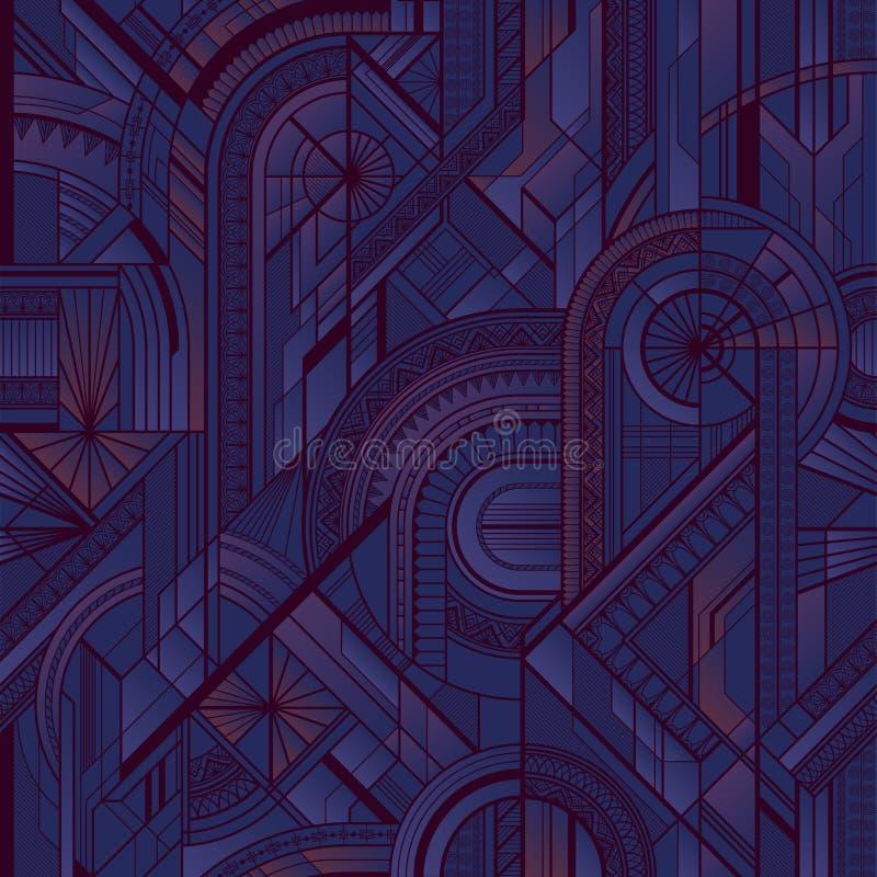 Seamless art deco geometric purple pattern vector illustration