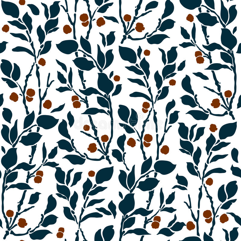 Seamless Art Deco vintage pattern sprigs and berries royalty free illustration