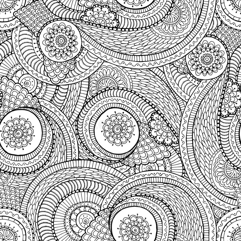 Seamless asian ethnic floral doodle black and royalty free illustration
