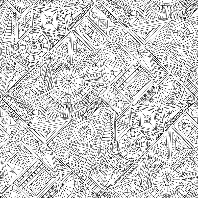 Seamless asian ethnic floral doodle pattern. stock illustration