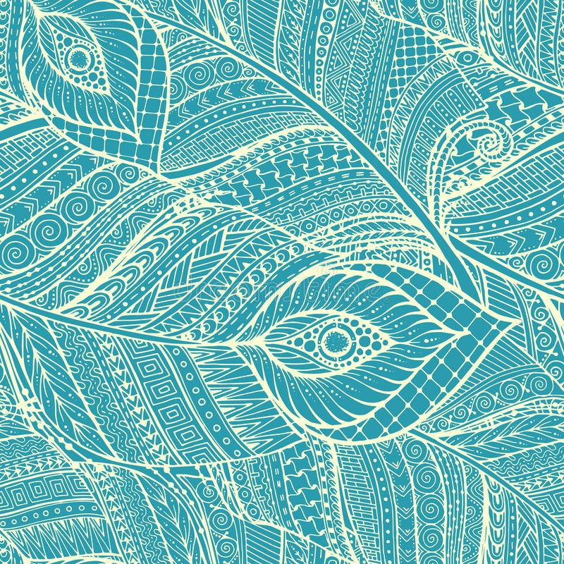 Seamless asian ethnic floral retro doodle background pattern in vector with feathers. vector illustration