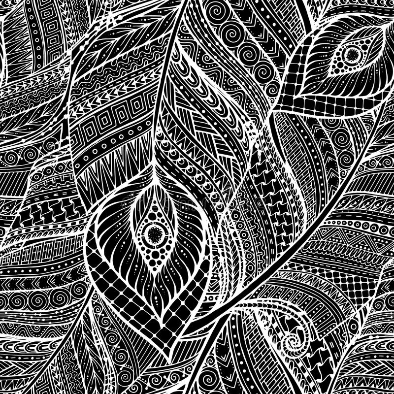 Seamless asian ethnic floral retro doodle background pattern in vector with feathers. Henna paisley mehndi tribal pattern. stock illustration