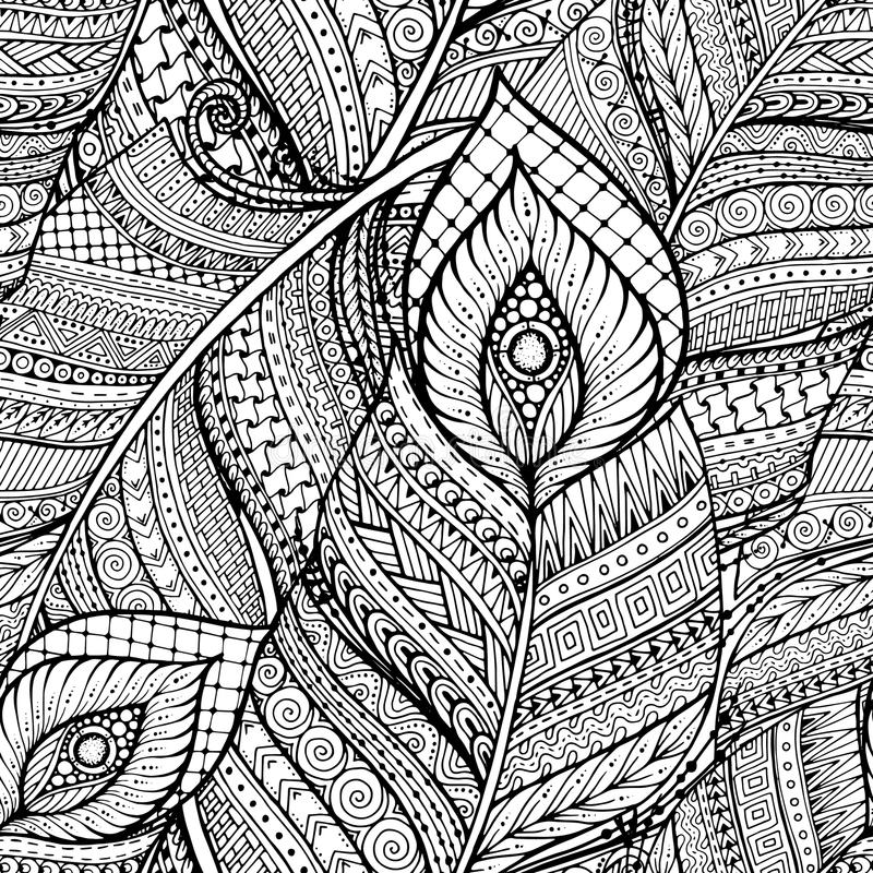 Seamless asian ethnic floral retro doodle black and white background pattern in vector with feathers. royalty free illustration