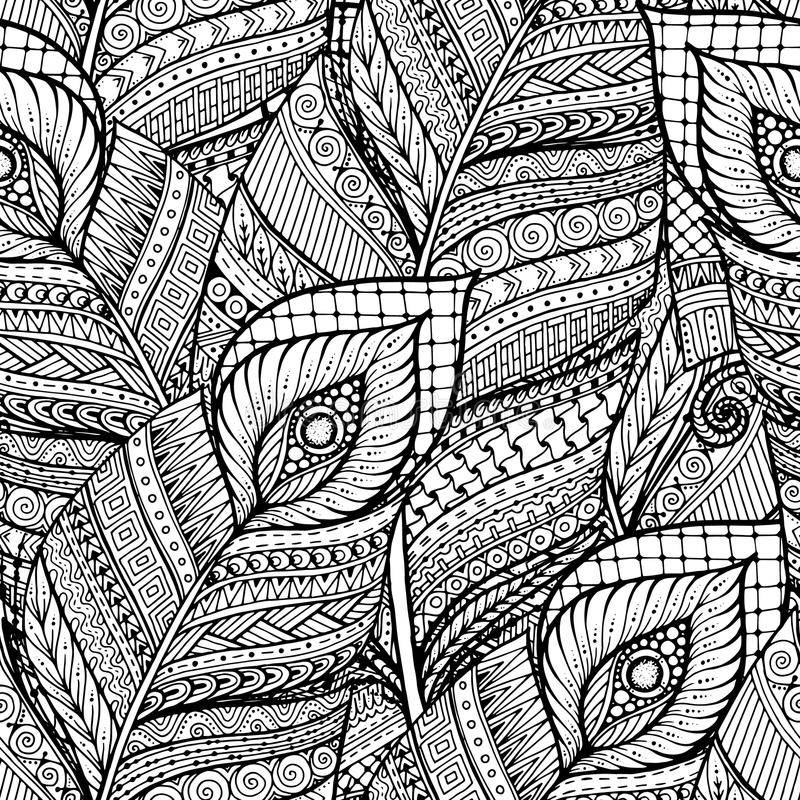 Seamless asian ethnic floral retro doodle black and white background pattern in vector with feathers. stock image