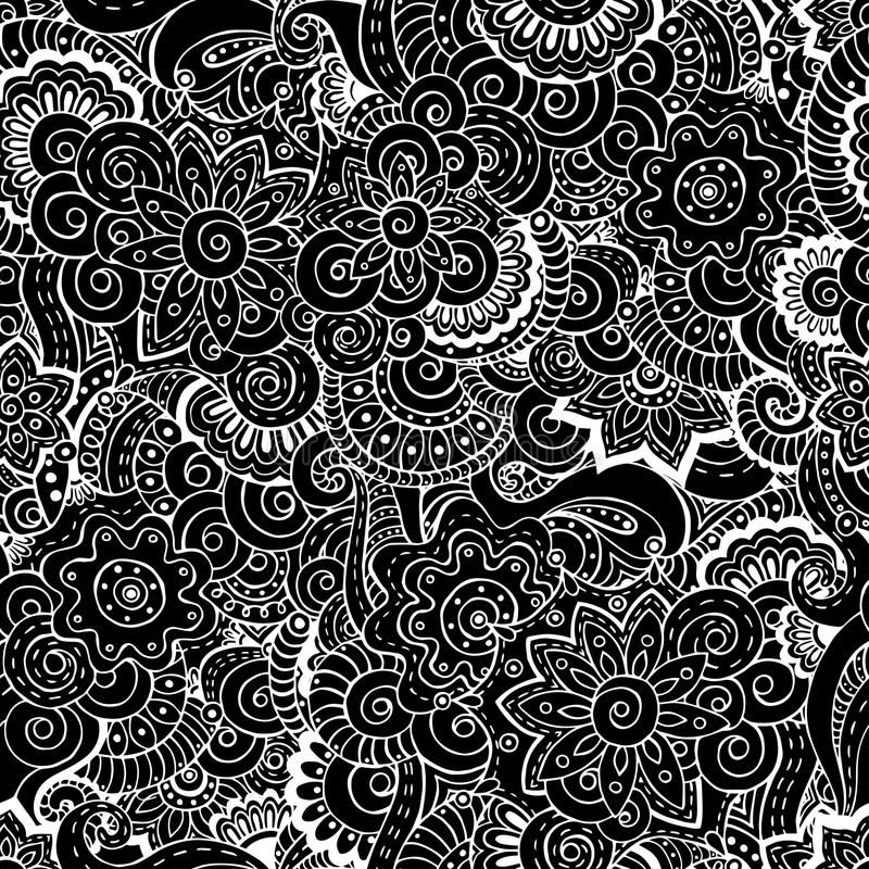Seamless asian floral retro background pattern stock illustration