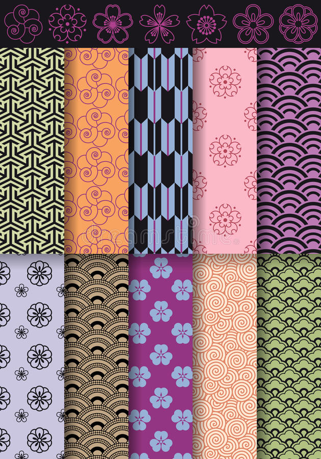 Seamless asian patterns, vector stock photo
