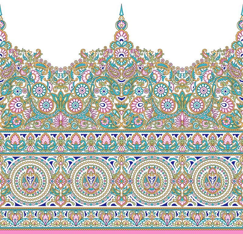 Seamless Asian textile floral border. For wallpapers,tiles, ceramic prints and textile fabrics royalty free illustration