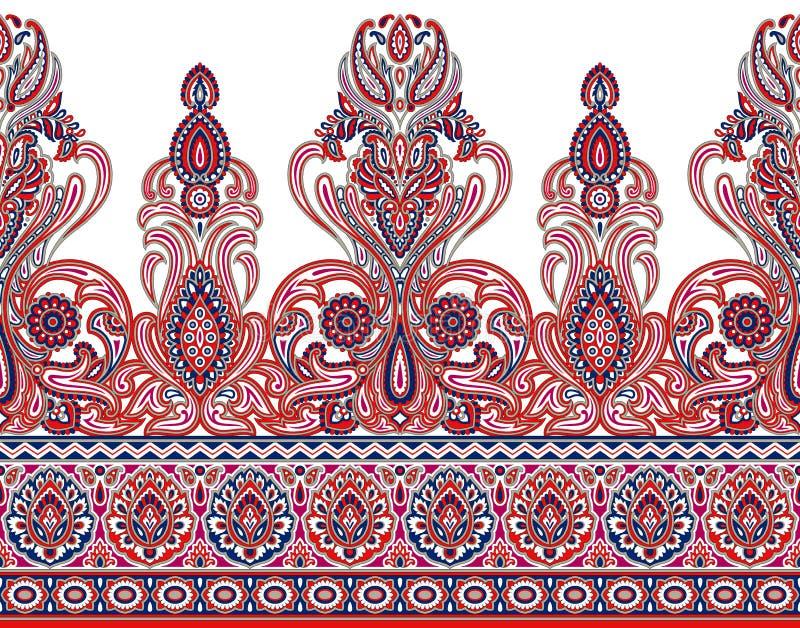 Seamless Asian textile floral border on white background. For textile fabrics,tiles and ceramic prints stock illustration