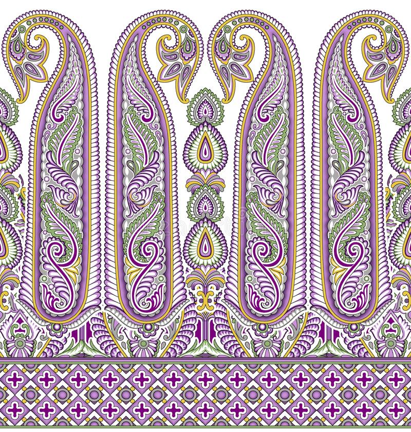 Seamless Asian textile floral border on white background. For wallpapers,tiles, ceramic prints and textile fabrics vector illustration