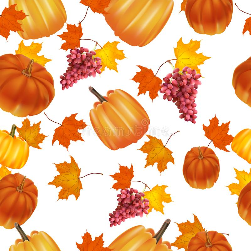 Seamless autumn background. Red and yellow pumpkins and autumn leaves. Grapes, red royalty free illustration