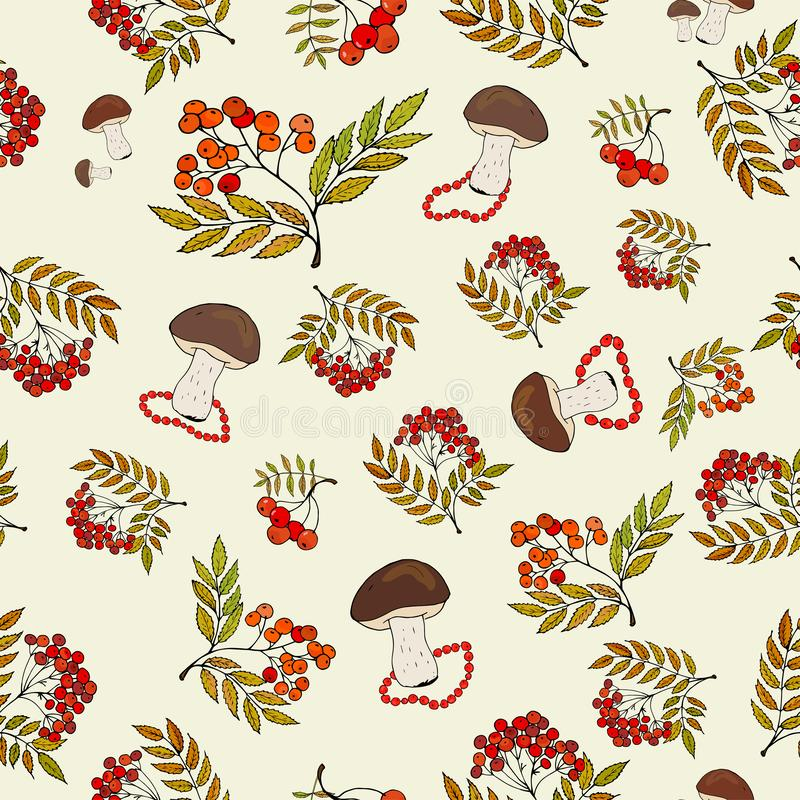 Seamless autumn background with wild mushrooms and bunches of rowan berries royalty free illustration