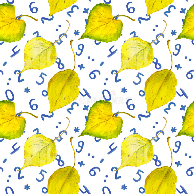 Seamless autumn background with yellow leaves and numbers. Seamless autumn background with yellow autumn leaves and numbers stock photography