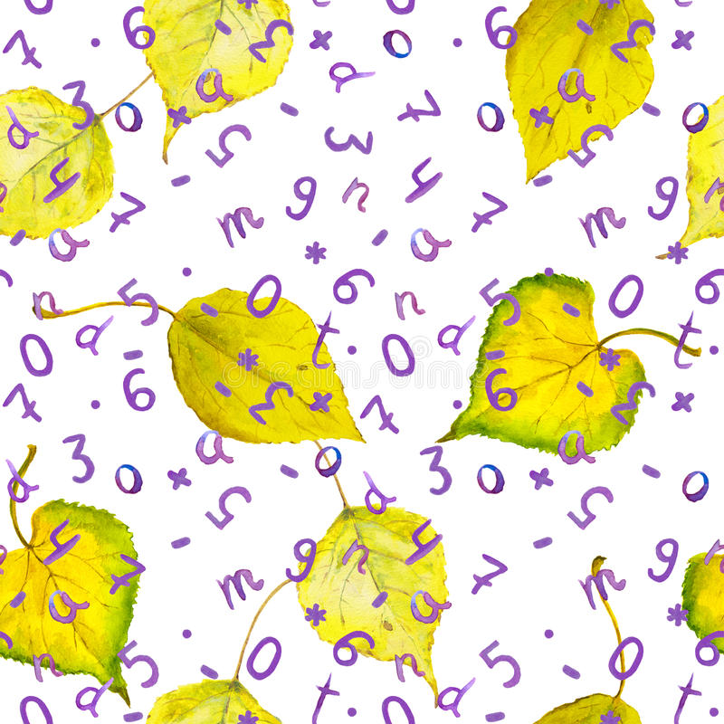 Seamless autumn background with yellow leaves and numbers. Seamless autumn pattern with yellow autumn leaves and hand written letters and numerals. School royalty free stock photography